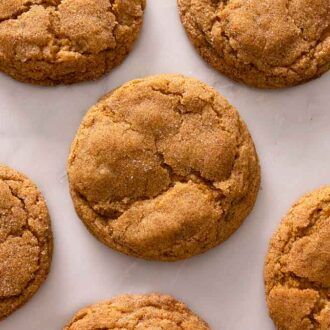 Multiple pumpkin snickerdoodles laid out in a single layer on a marble counter.