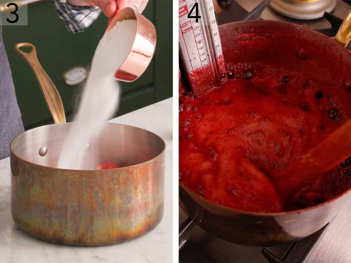 Set of two photos showing sugar added to a pot and then the pot simmered with a thermometer.