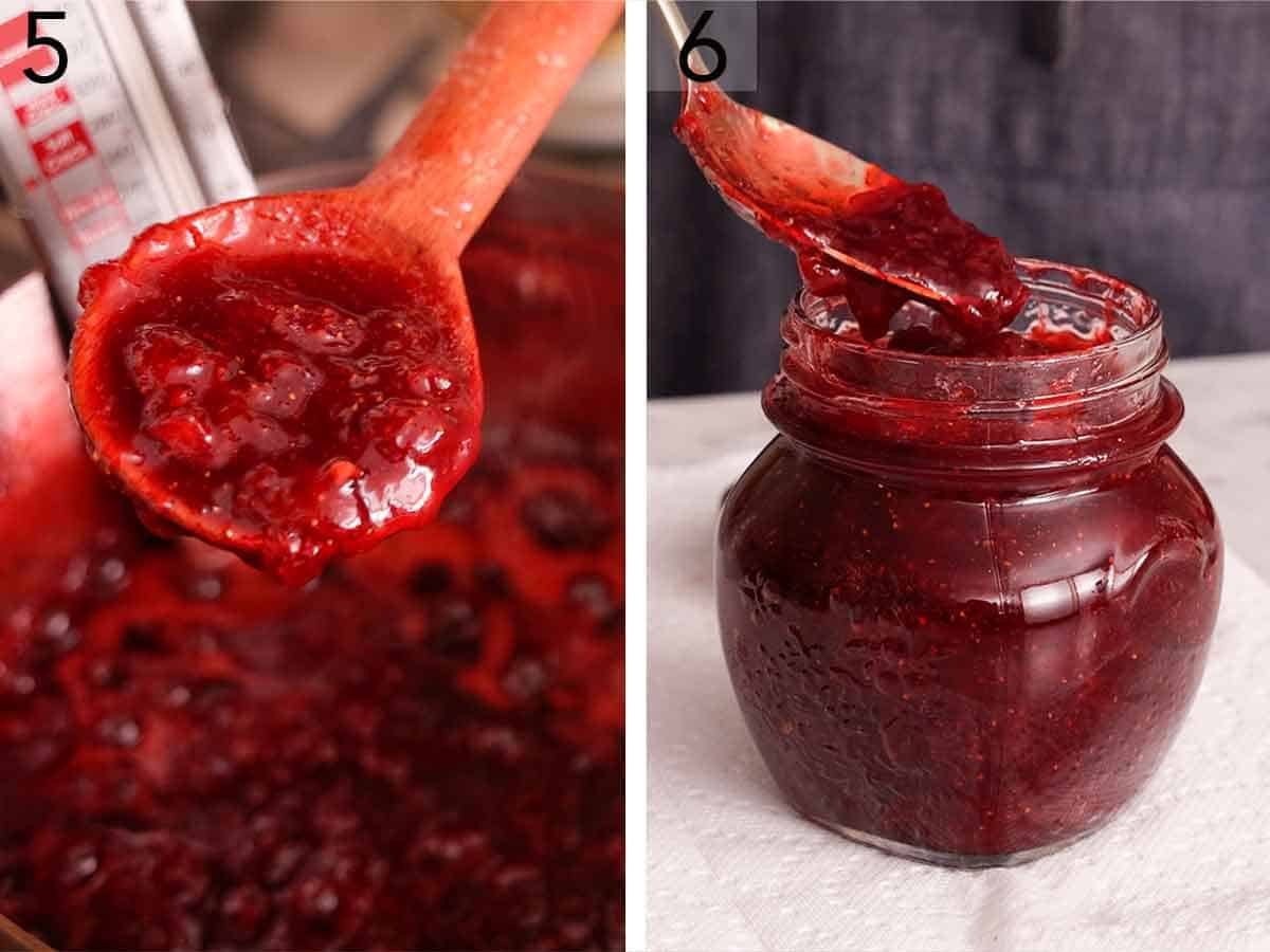 Set of two photos showing the texture of the cooked jam and then transferred to a mason jar,