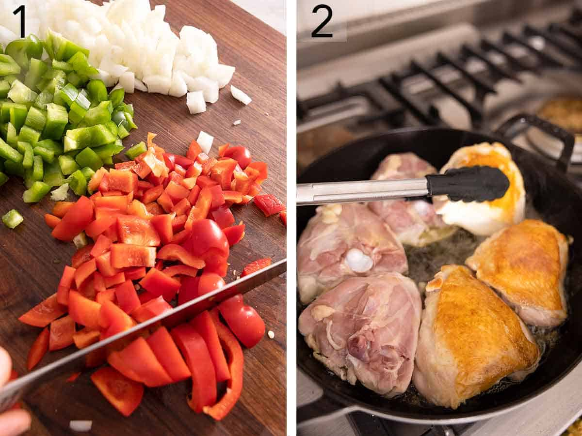Set of two photos showing vegetables being diced and thighs being cooked in a pan.