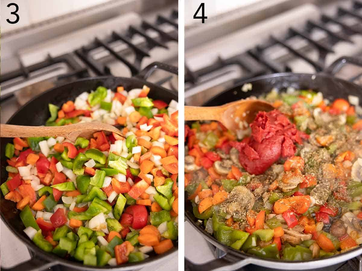 Set of two photos showing vegetables being sautéed and then tomato paste and seasonings added on top.