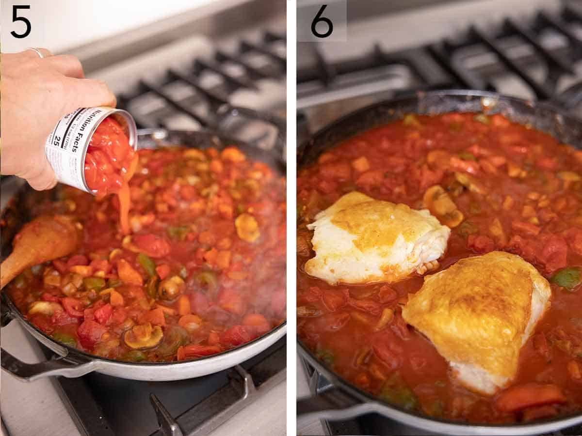 Set of two photos showing diced tomatoes added to the pan and then chicken thighs nestled on top of the sauce.