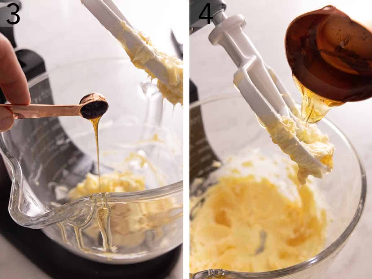 Set of two photos showing vanilla extract added to the butter mixture and a tablespoon of honey added.