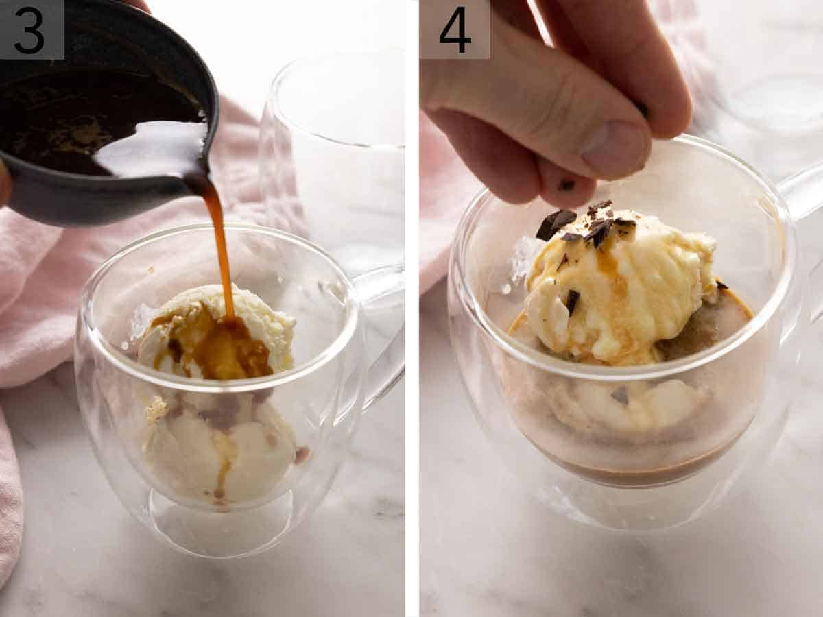 Set of two photos showing espresso poured over the ice cream and then chocolate shavings sprinkled on top.