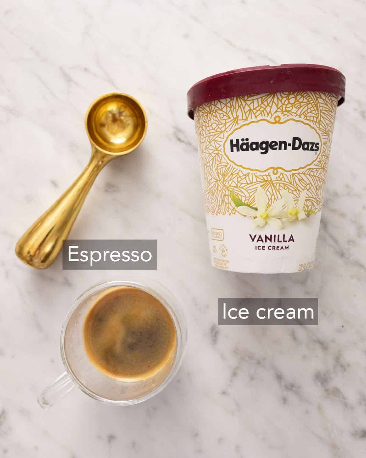 Ingredients needed to make an affogato.