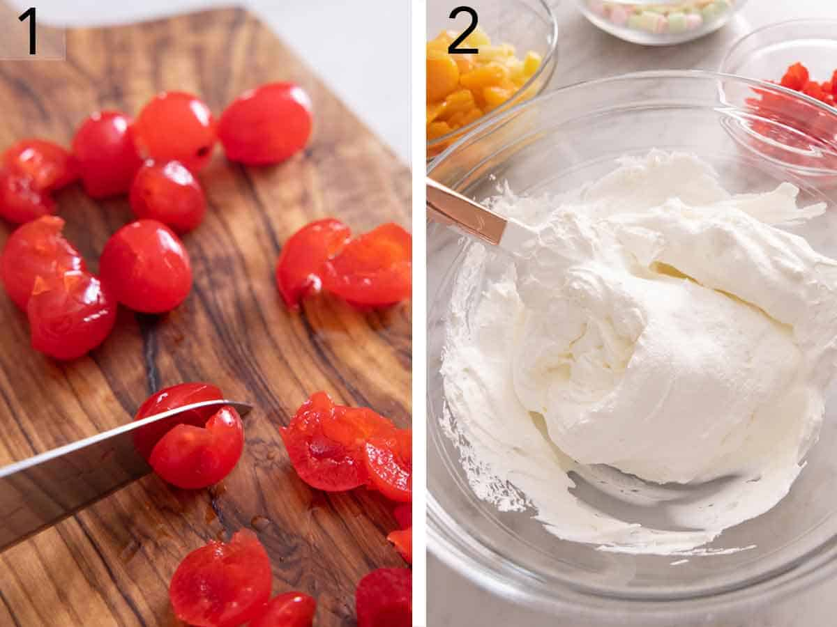 Set of two photos showing cherries cut in half and whipped topping mixed together.