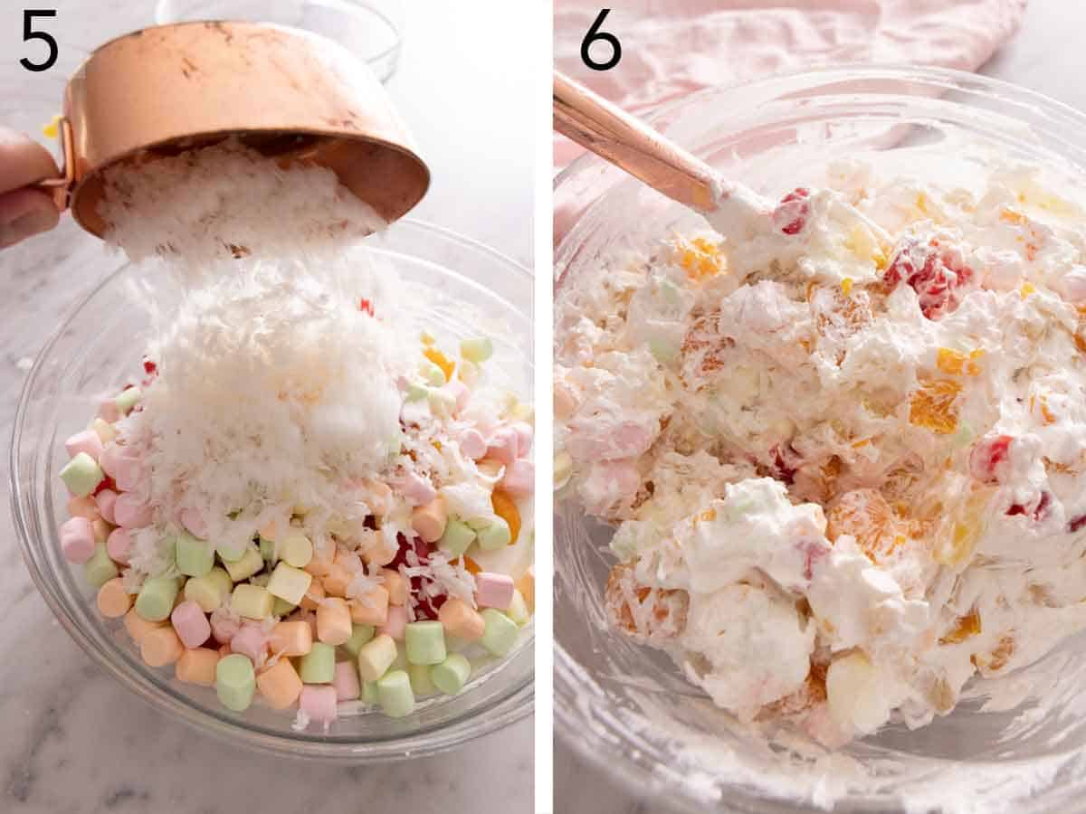 Set of two photos showing coconut flakes added to the bowl then everything mixed and combined.