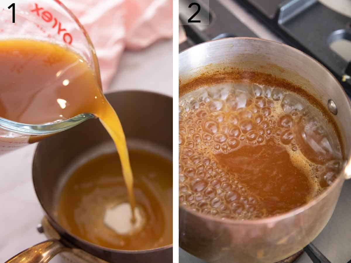 Set of two photos showing apple cider added to a saucepan and simmered.