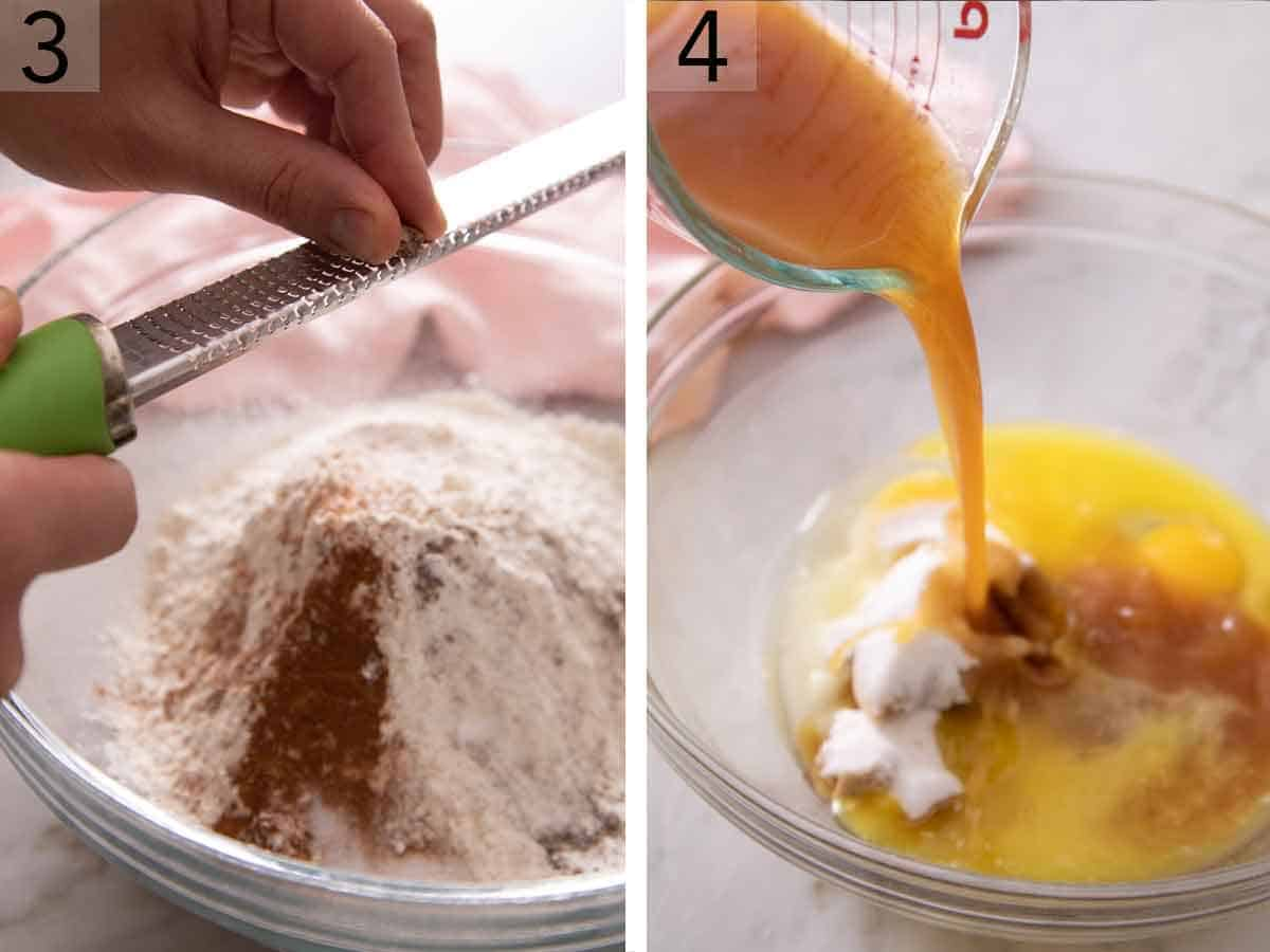 Set of two photos showing dry ingredients added to a bowl and wet ingredients to another.