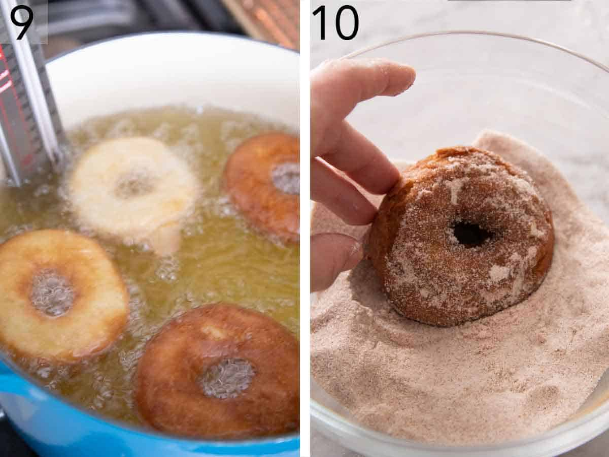 Set of two photos showing donuts fried in a pot of oil and coated in cinnamon sugar.