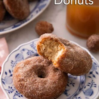 Pinterest graphic of two apple cider donuts, one with a bite taken out of it, on a plate.