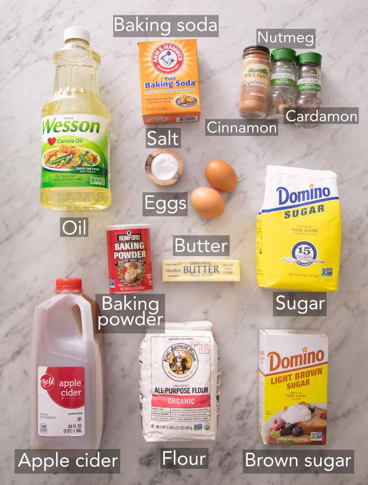 Ingredients needed to make apple cider donut.