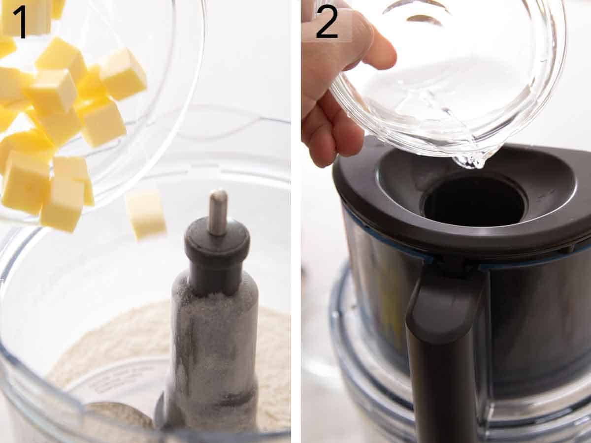 Set of two photos showing cubed butter added to a food processor with flour and then water added.
