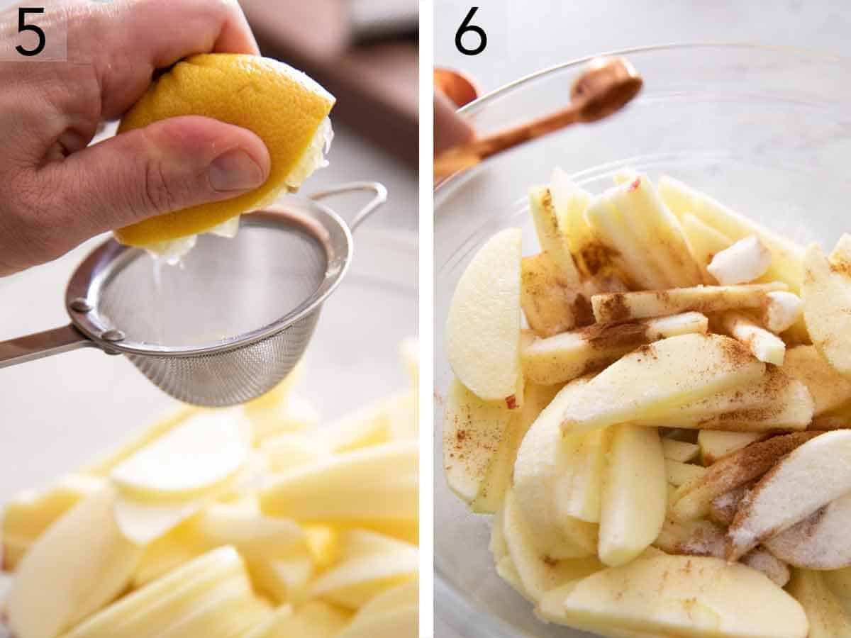 Set of two photos showing lemon squeezed onto apples and then cinnamon and sugar added.