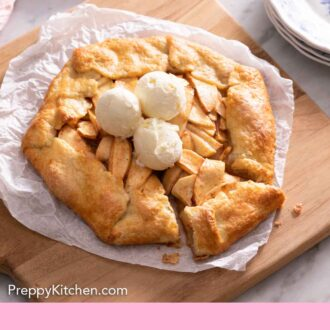 Pinterest graphic of an apple galette on a serving board with three scoops of ice cream on top.