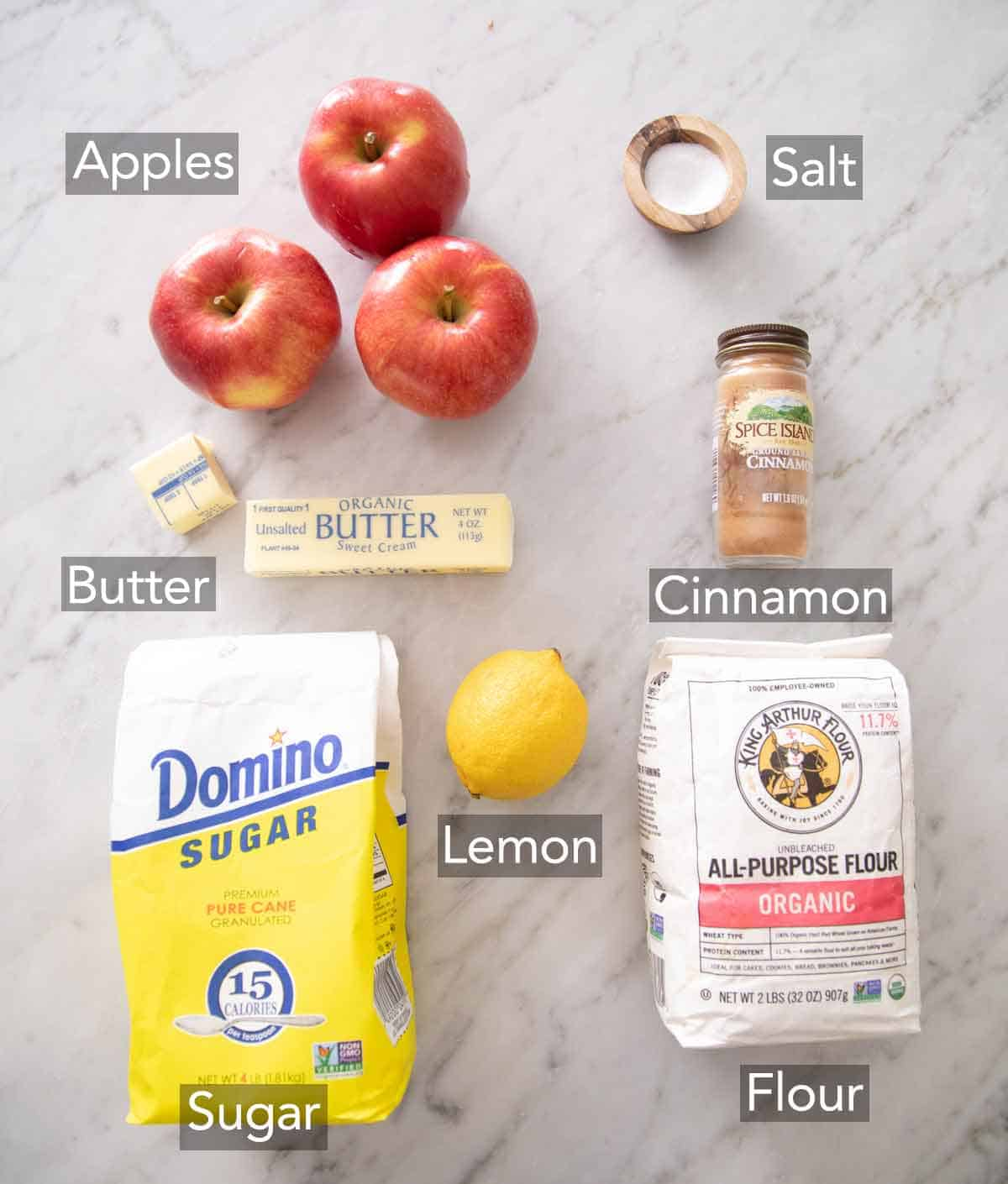 Ingredients needed to make an apple galette.