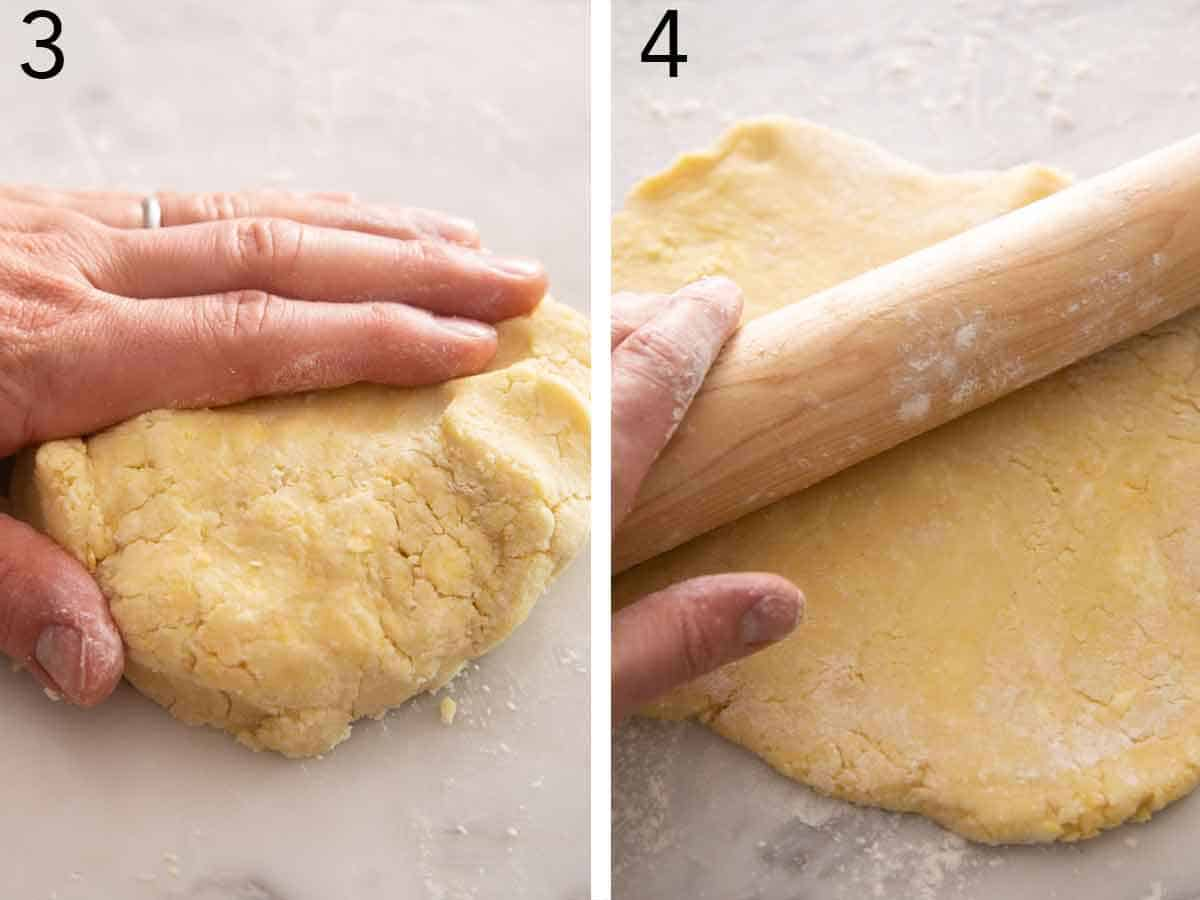 Set of two photos showing dough being kneaded and rolled out.