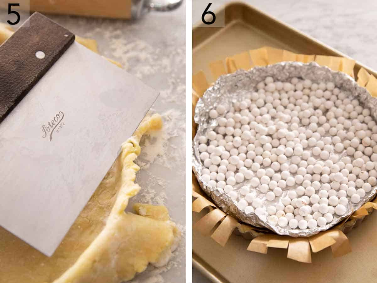 Set of two photos showing excess pastry dough cut off the top of a tart pan and then blind baked with pie weights.