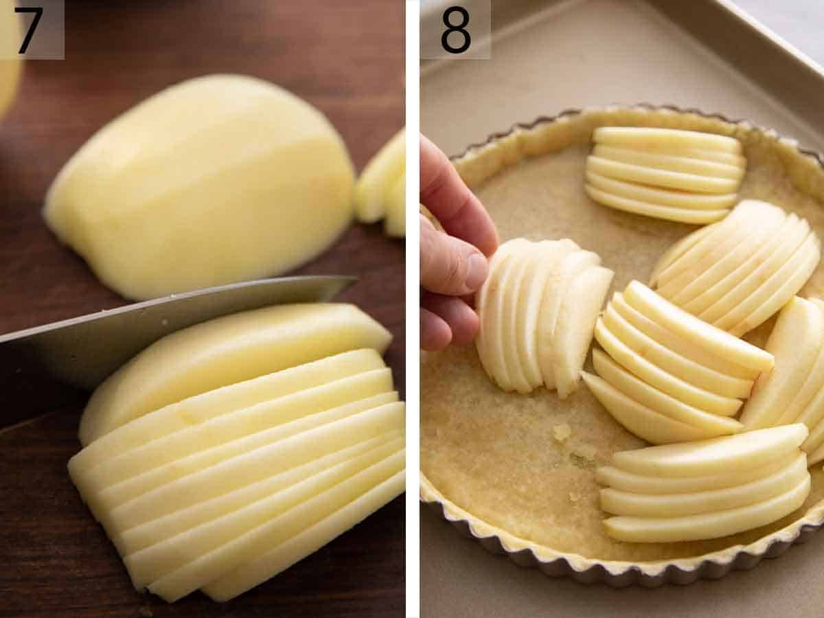Set of two photos showing adds being sliced and added to the tart shell.