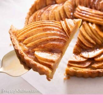 Pinterest graphic of a slice of apple tart lifted from the rest of the tart.