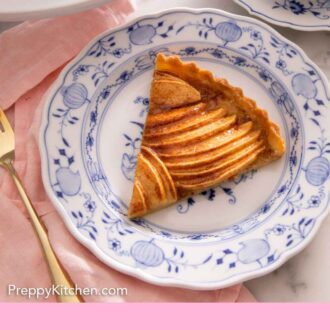 Pinterest graphic of an overhead view of a slice of apple tart in a plate.