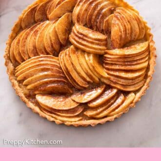 Pinterest graphic of the overhead view of an apple tart.