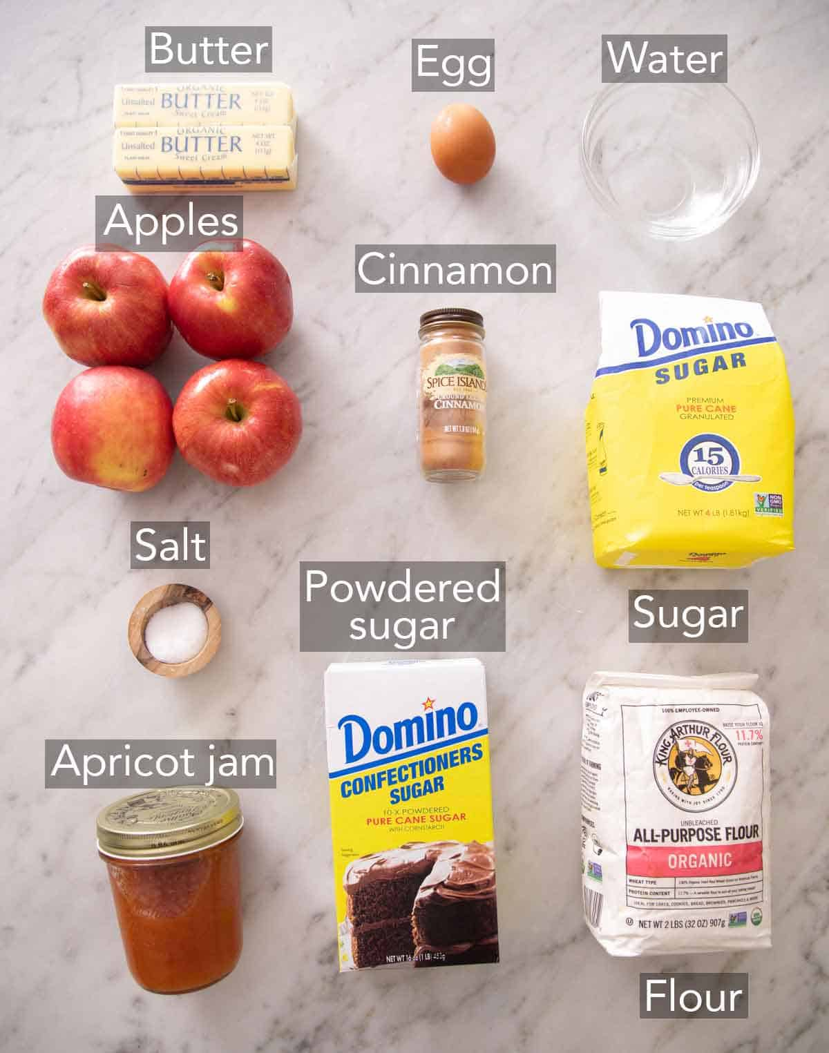 Ingredients needed for an apple tart.
