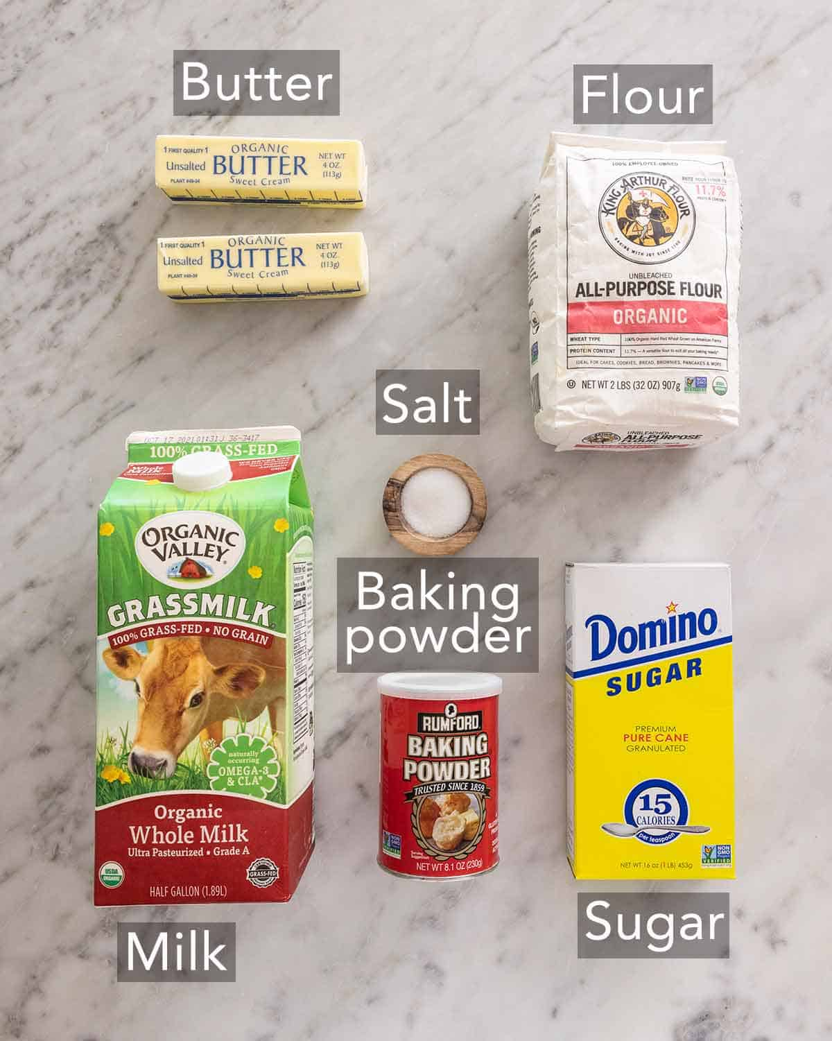 Ingredients needed to make biscuits.