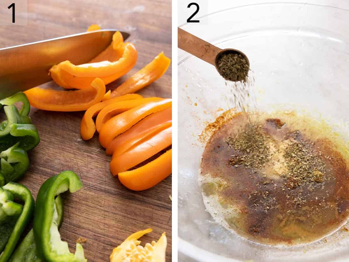 Set of two photos showing bell peppers sliced and seasoning mixed together.