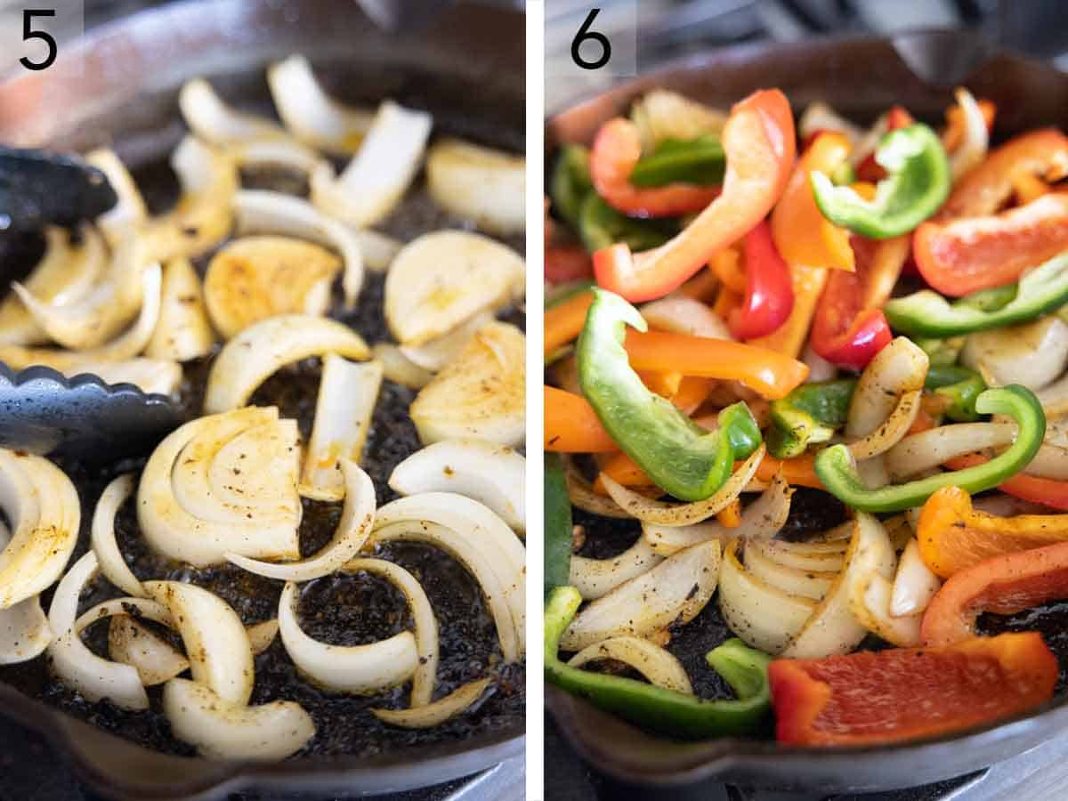Set of two photos showing onions then bell peppers added to the skillet.