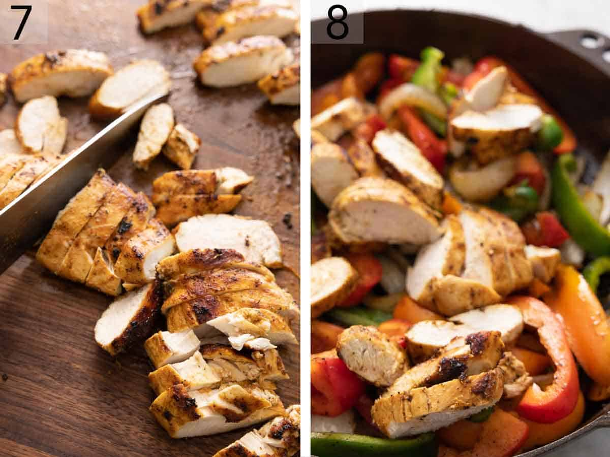 Set of two photos showing chicken sliced and added to the pan.