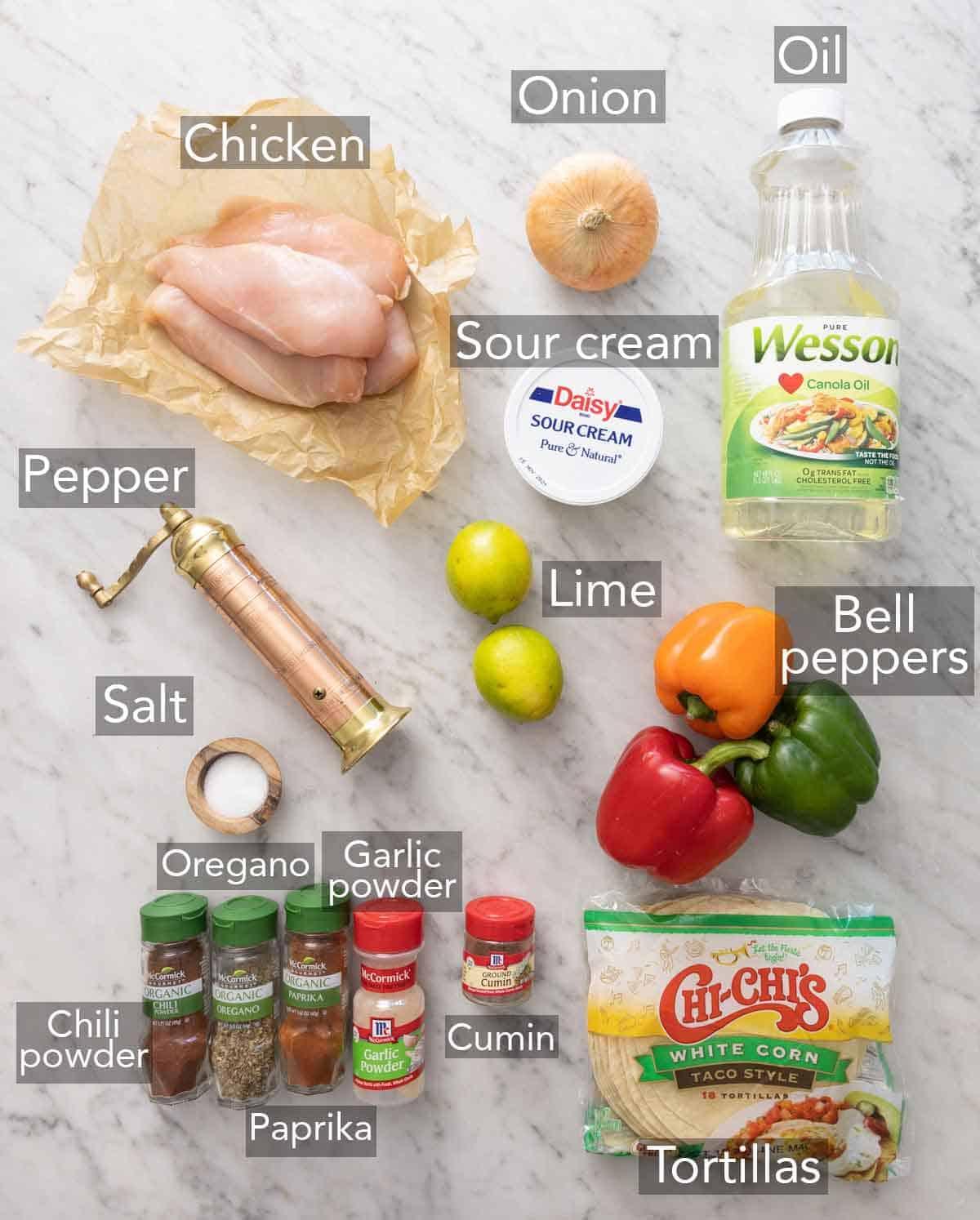 Ingredients needed to make chicken fajitas.