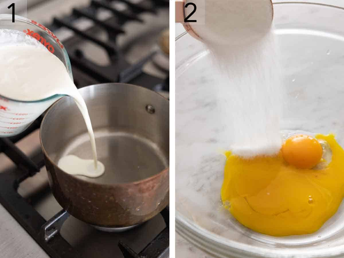 Set of two photos showing heavy cream added to a saucepan and sugar added to egg yolks.