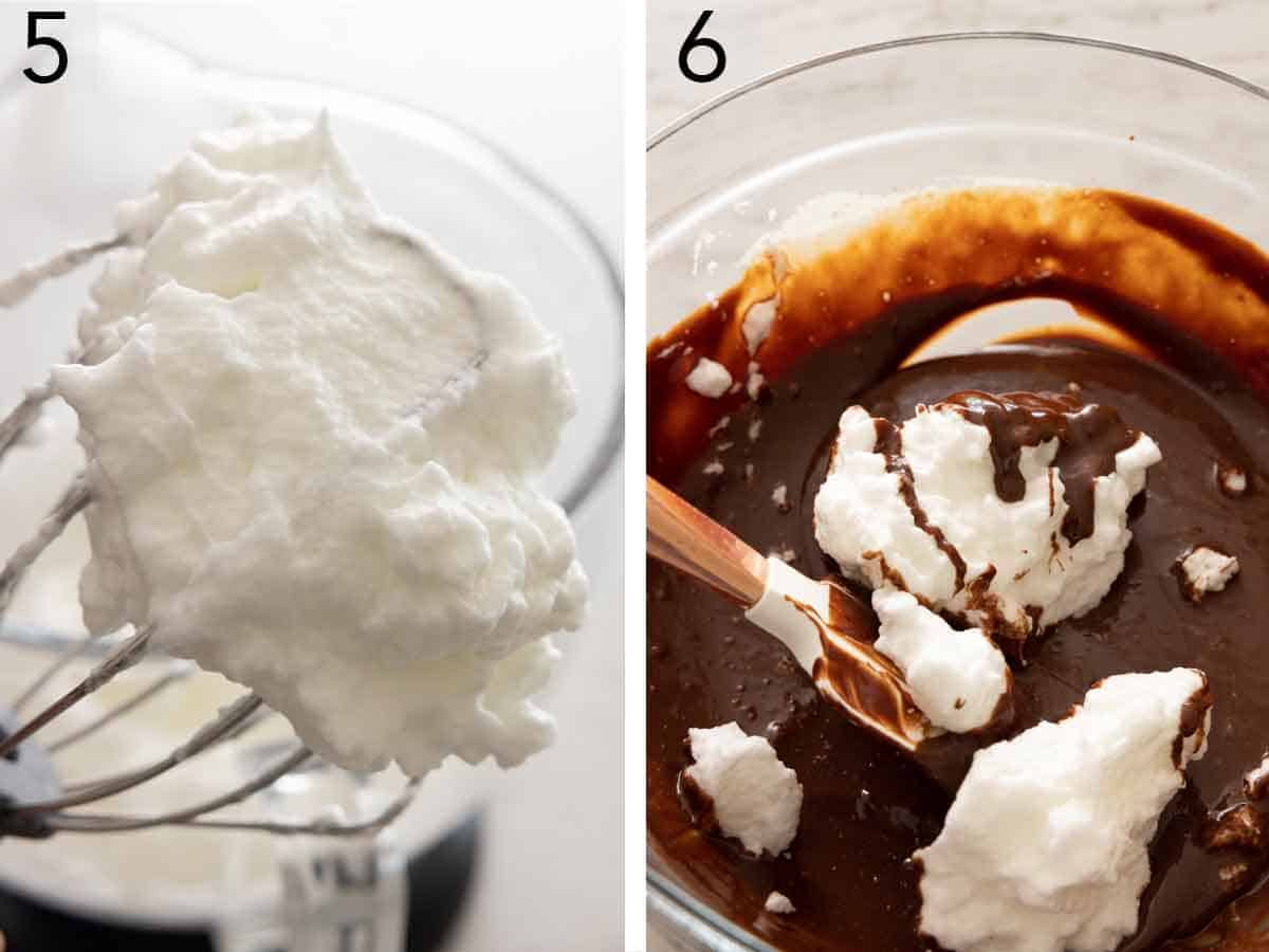 Set of two photos showing egg whites, whipped, and added to the chocolate mixture.