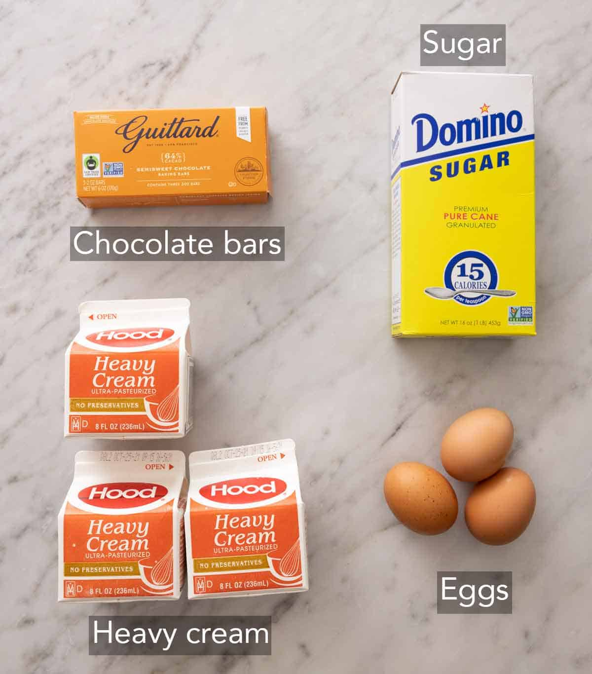 Ingredients needed to make chocolate mousse.