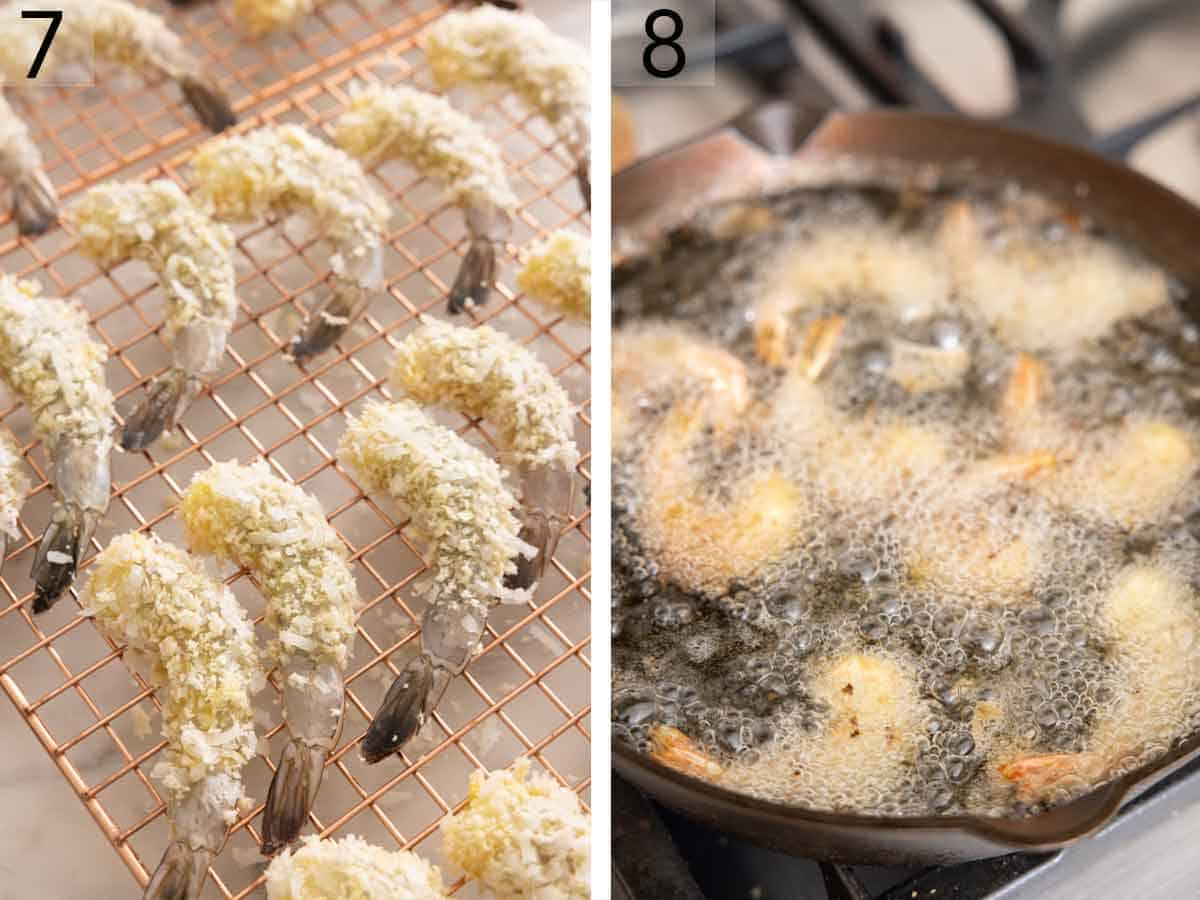 Set of two photos showing coated shrimps on a wire rack before added to hot oil.