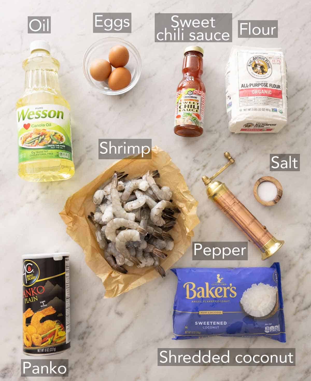 Ingredients needed to make coconut shrimp.