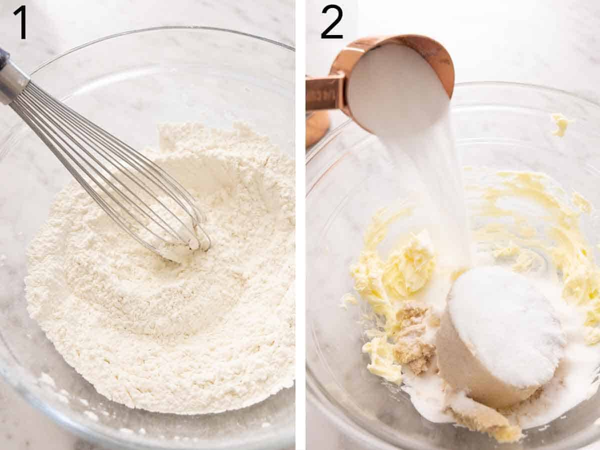Set of two photos showing flour, baking soda, and salt whisked in a bowl and butter with sugars added in another bowl.