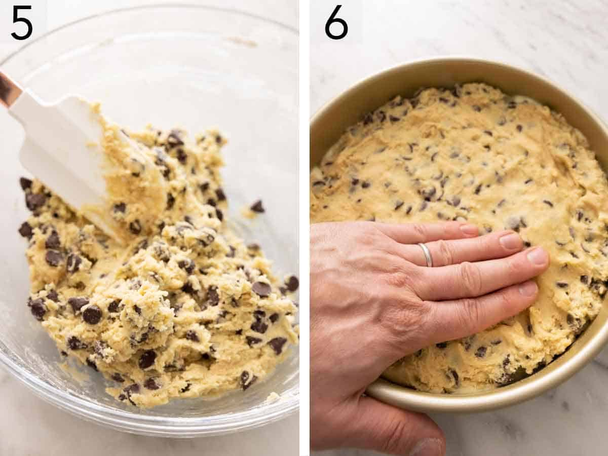Set of two photos showing chocolate chips mixed into the batter and then pressed into a cake pan.