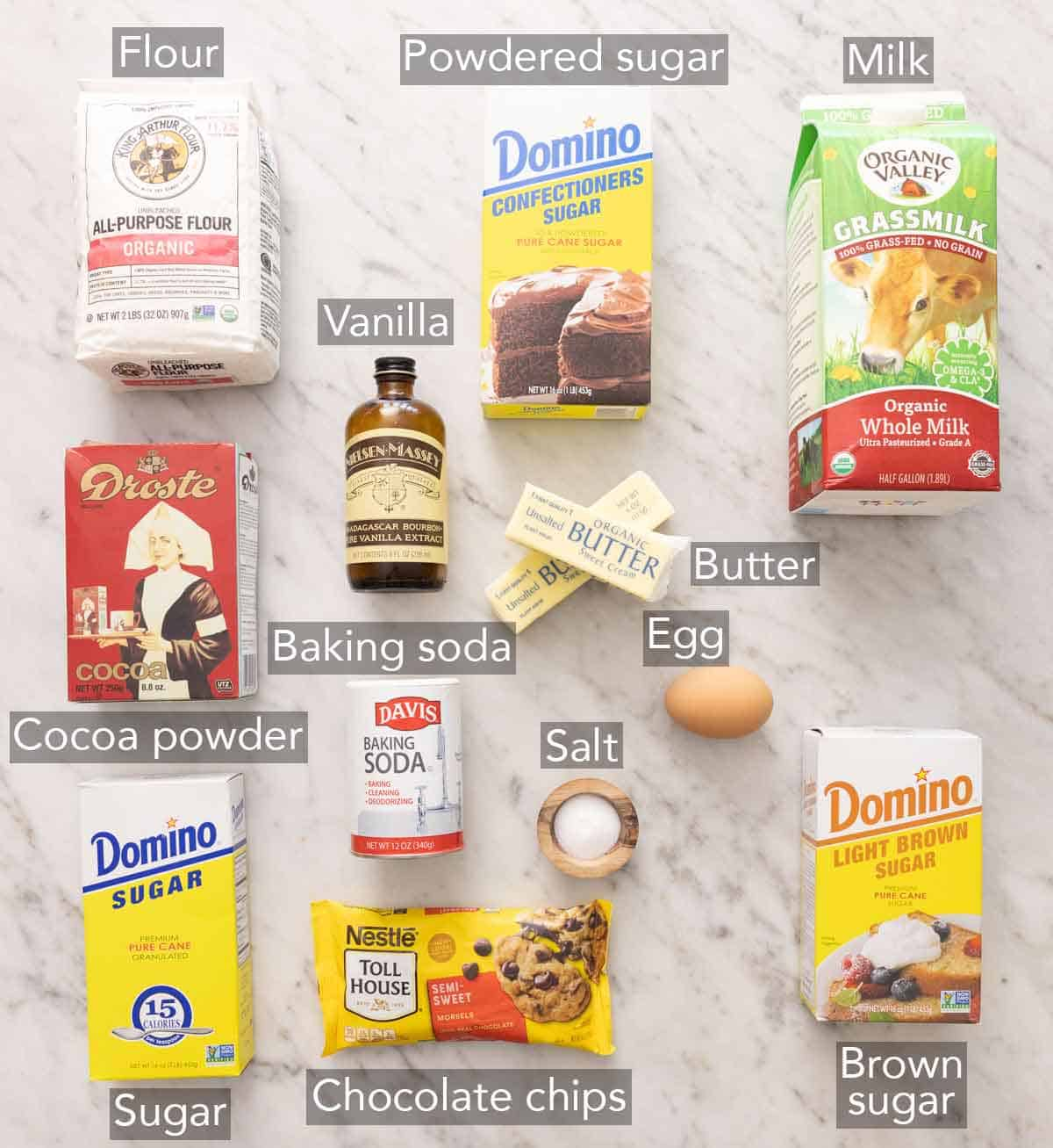 Ingredients needed to make a cookie cake.