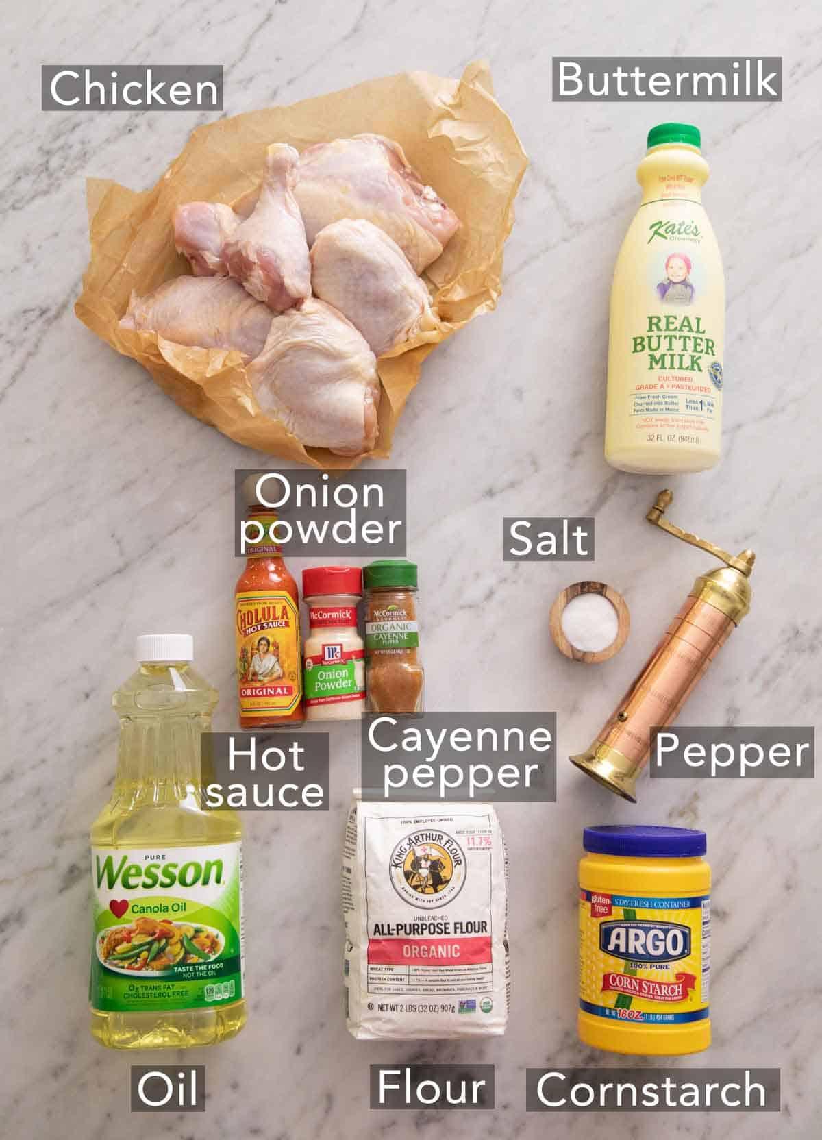 Ingredients needed to make fried chicken.