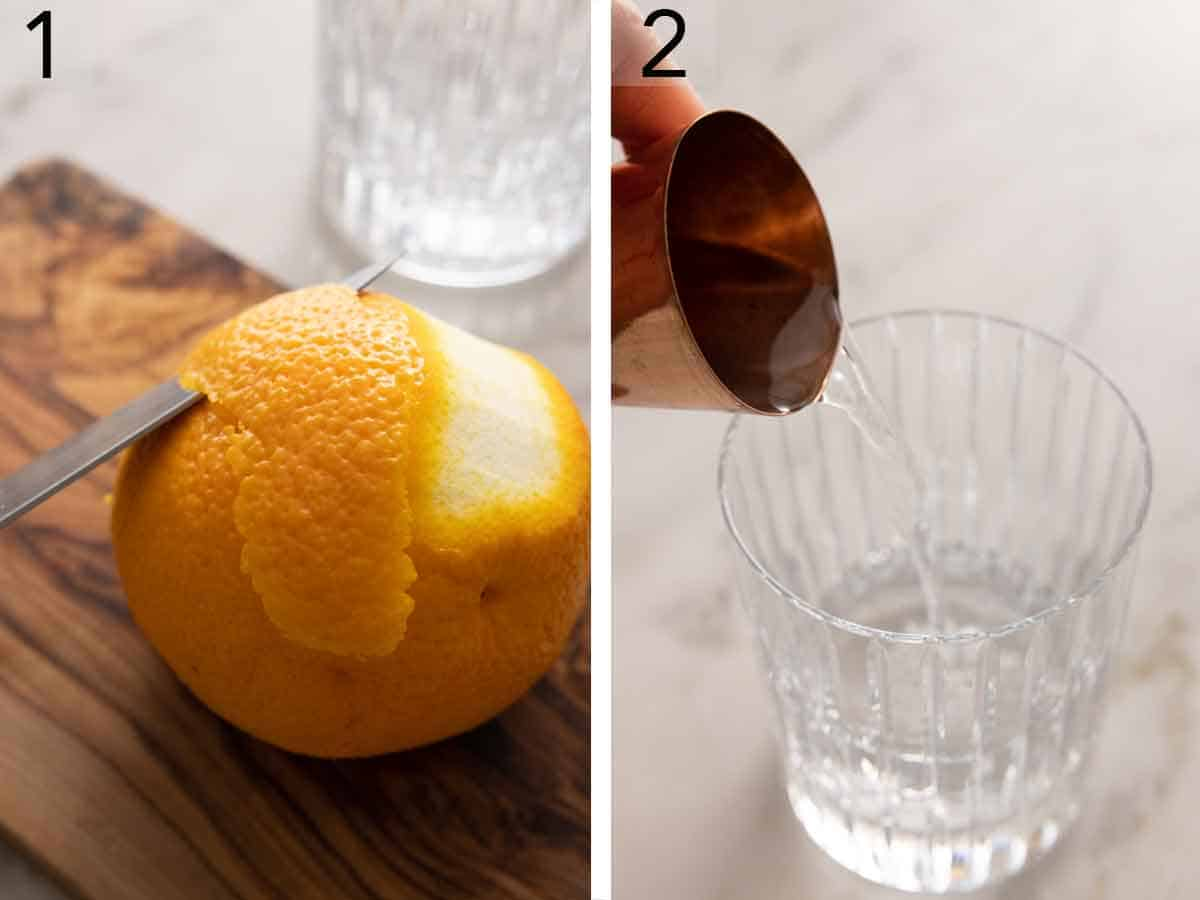 Set of two photos of a knife slicing an orange peel and then gin added to a glass.