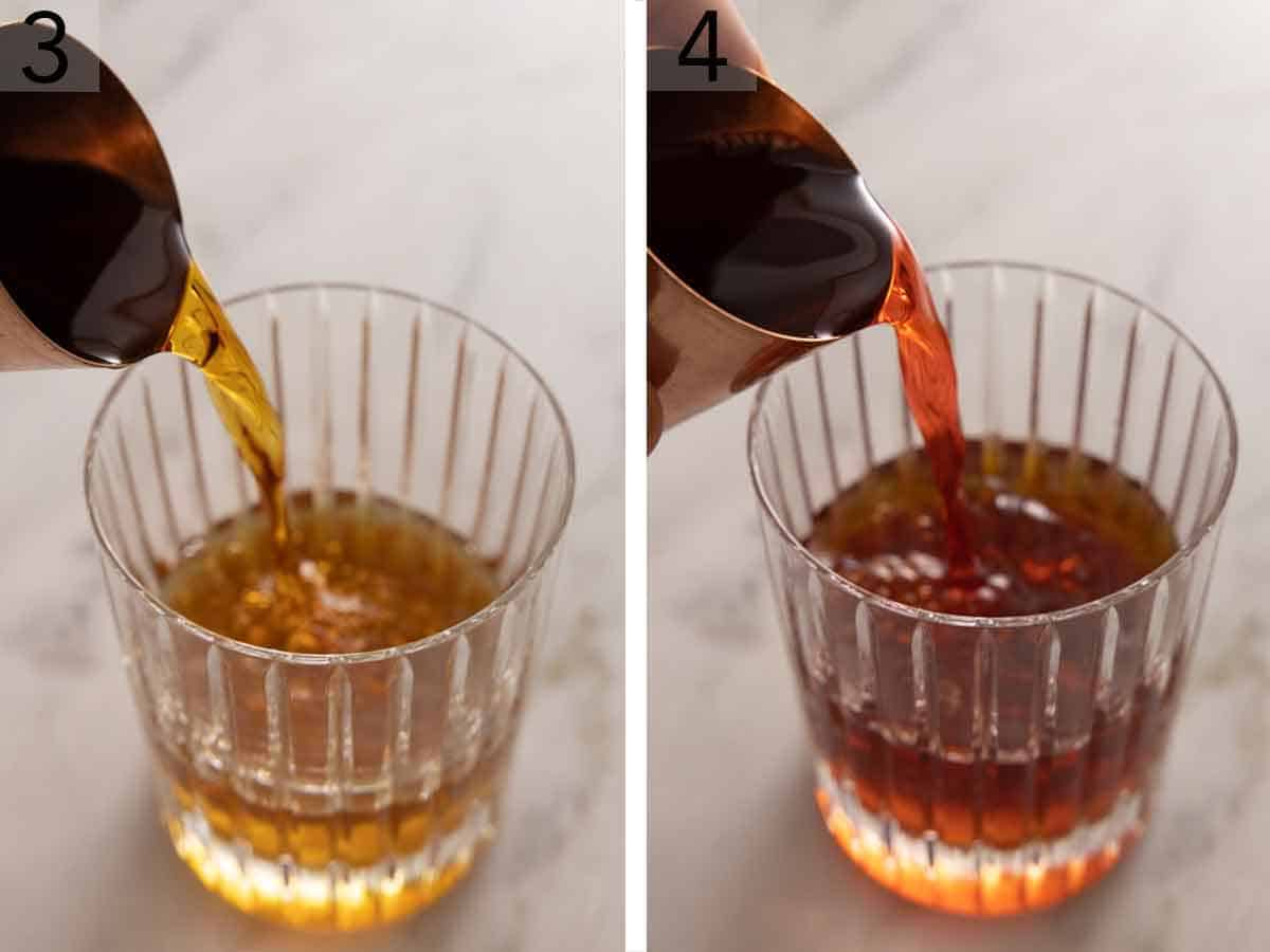 Set of two photos showing vermouth and Campari added to the glass.