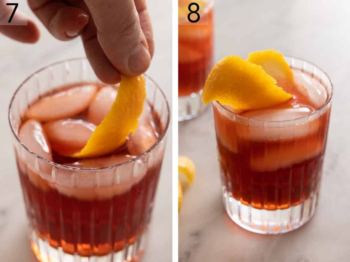 Set of two photos showing garnish added to the drink and a glass of Negroni.
