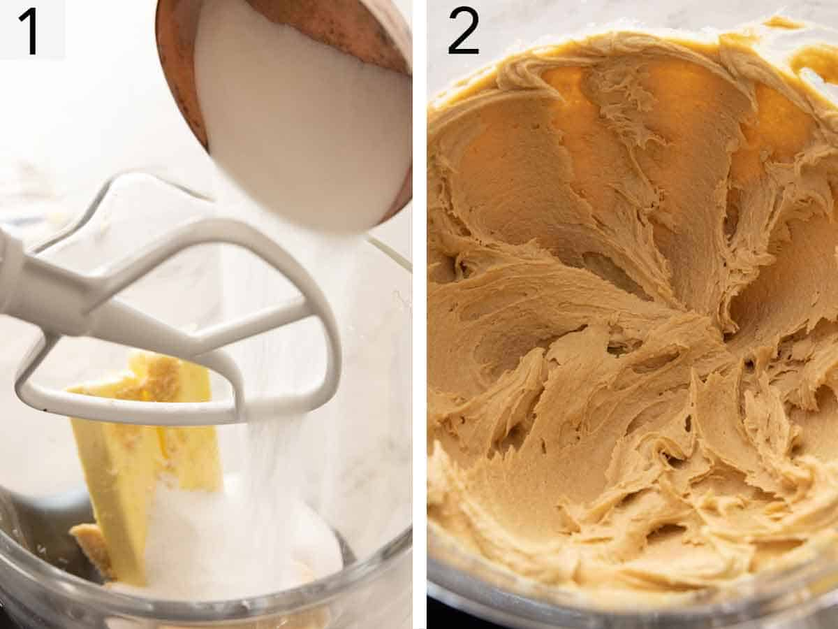 Set of two photos showing butter and sugar being creamed.