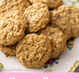 Pinterest graphic of a plate of peanut butter oatmeal cookies.