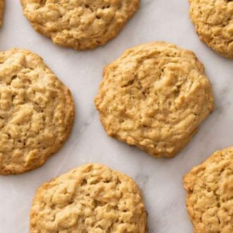 Overhead view of multiple peanut butter oatmeal cookies in a single layer.
