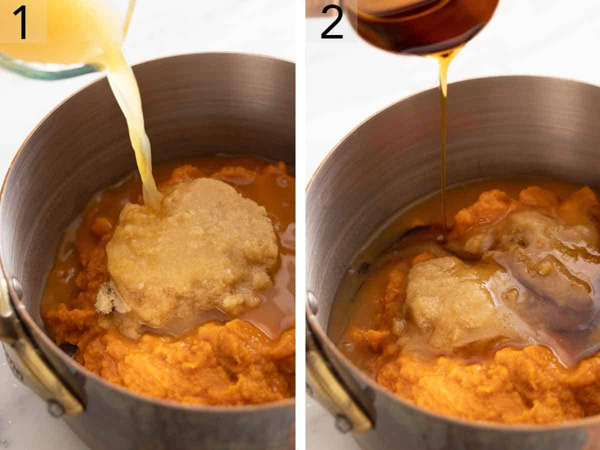 Set of two photos showing cider poured into a pot with puree and brown sugar. Second photo showing maple syrup added.