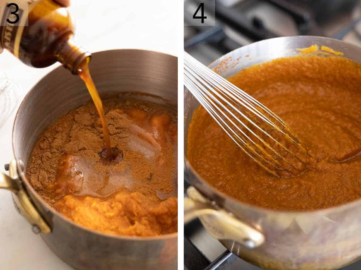 Set of two photos showing vanilla extra added to a pot and then ingredients whisked together on the stove.