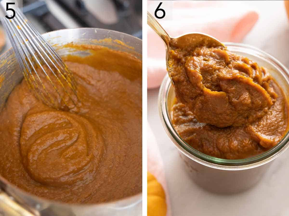 Set of two photos showing pumpkin butter cooked on the stove in a pot then transferred to a weck jar.
